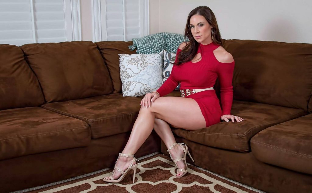 hot milf kendra lust in elegant red dress and high heels