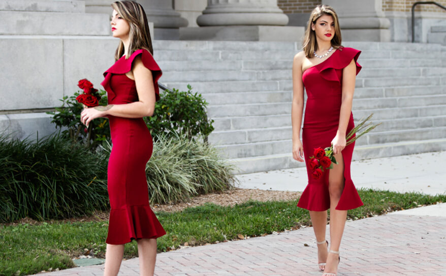 2 floerns red dress