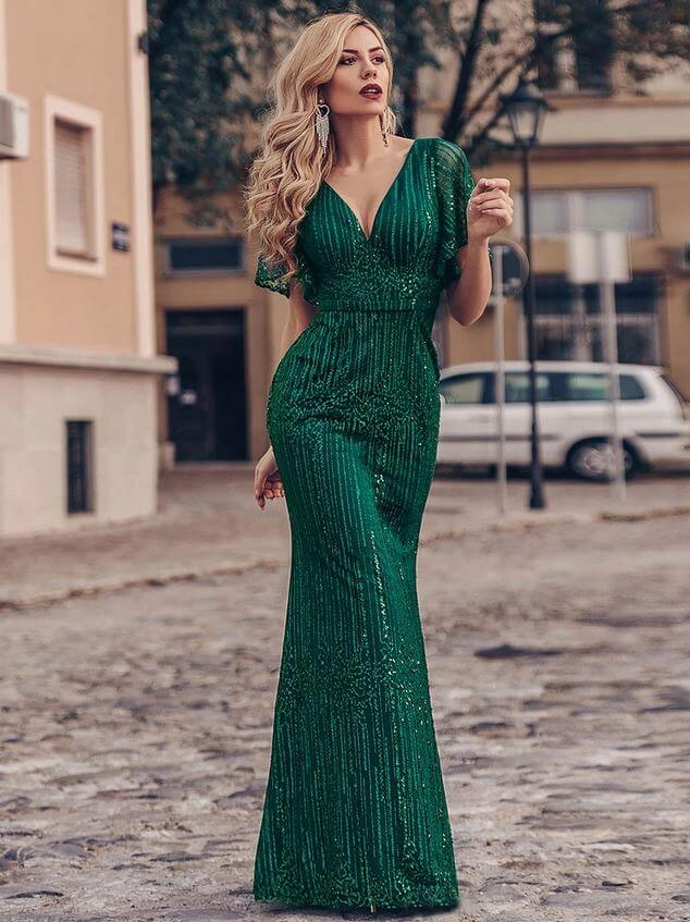 Ever Pretty - Classy Green Prom Dress With Flutter Sleeves