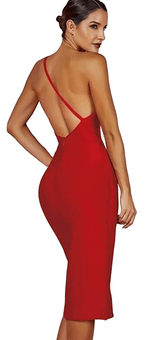 Red one-shoulder knee length cocktail dress
