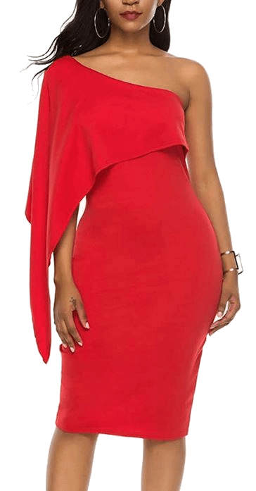 Midi cocktail party dress red off one shoulder